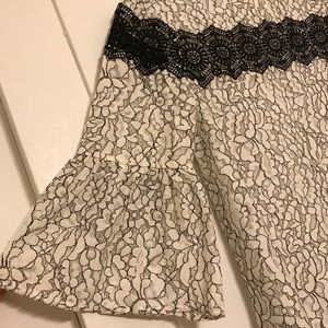 Lace Black and White Blouse with Bell 3/4 Sleeves